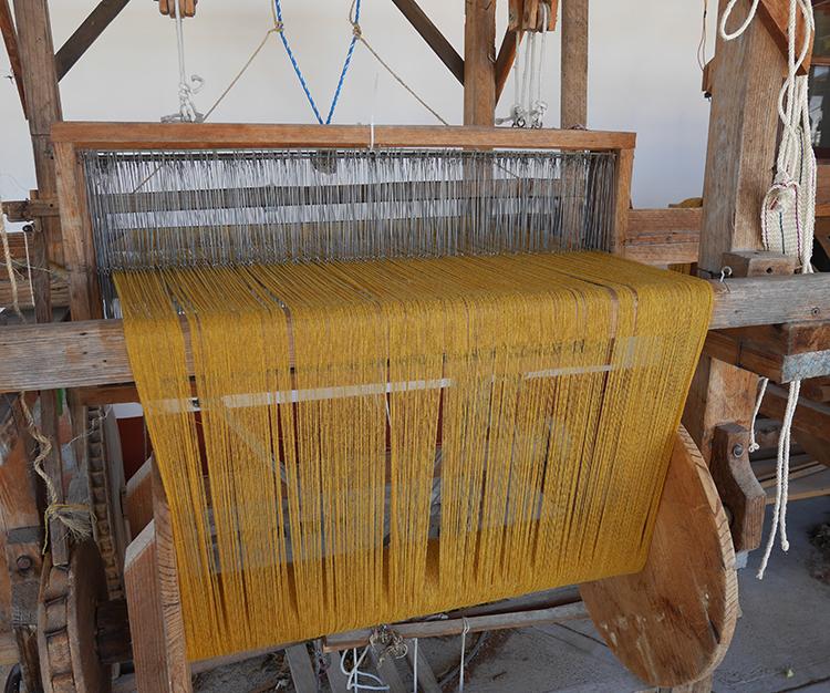 Marigold shawl on loom